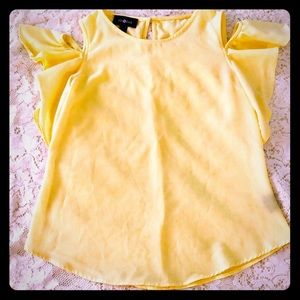 Girls Cold Shoulder Cute Yellow Top 10/12